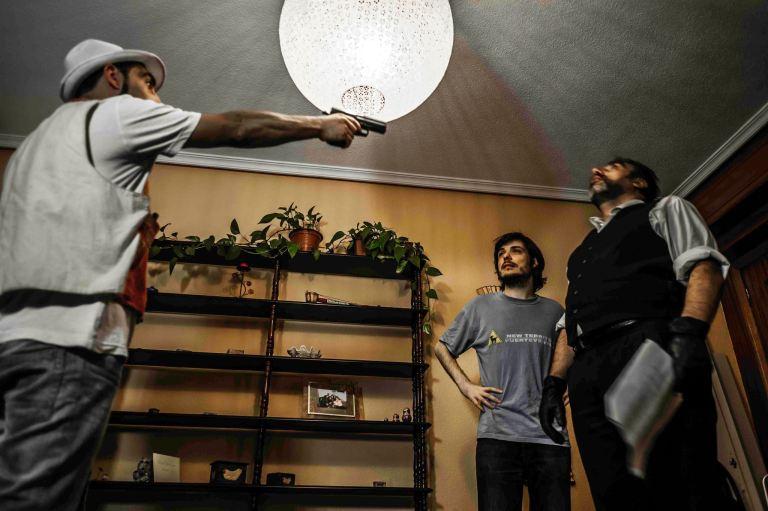 Ensayando con Gonzalo Carotta y Adrián Delgado en Un lío de pelotas (2013)