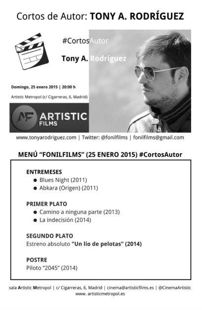 Flyer de proyección de algunos de mis trabajos. (2015)